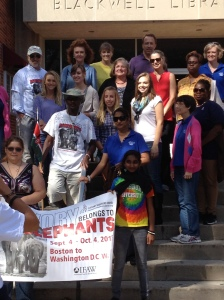 Nyuma poses with SU supporters on steps of Blackwell Library